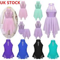 UK_Kids Girls Sequins Ballet Lyrical Dance Dress Gymnastic Leotard Skirt Costume