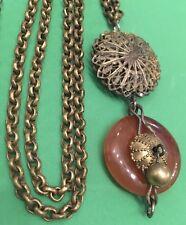Antique Victorian Necklace Dangles Filigree Dangle and Carnelian Disc
