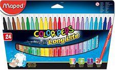 "Maped Color'peps Felt Tips ""Long-Life"" Fibre Tip Pens in Wallet 24 Assorted"