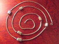 Tolle 925 Silber Viereckige Kette Collier Rille Lang Jugendstil Art Deco Vintage