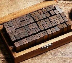 70pcs Alphabet Letter Number Wood Rubber Stamps DIY Craft With Wooden Box Set