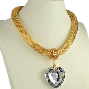 Large crystal heart pendant gold colour fashion jewellery choker necklace