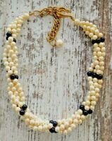 Vintage FAUX Ivory Pearl and Black Beaded TWIST Multi Strand CHOKER *ELEGANT*