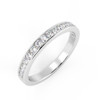 Clearance..! 0.30Ct Round Diamond Half Eternity Ring,Hallmarked 18K White Gold