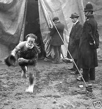 Circus clown poster/Print/Weird scary/Big Top Tent /B&W Photo/Running Clown