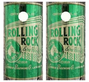 Vintage Rolling Rock Beer - Beer Can Barnwood Cornhole Board Wraps #2495