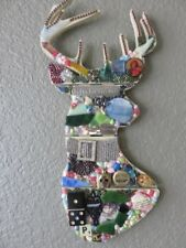 Handcrafted Mixed Media Pop Art Wall Hanging Reindeer Collage Kitschy Deer