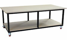 Mobile steel work bench 2400 x 1200mm, direct from our Melbourne factory