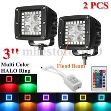 Pair 3'' LED Flood Work Light Bar Pod Cubes Multi Colored RGB HALO Ring Lamp 12v