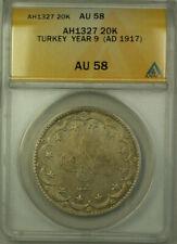 1917 Turkey Year 9 AH1327 Silver 20 Kurus Coin ANACS AU 58 KM#780