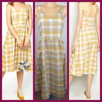 New Look Ladies Yellow Check Print Summer Holiday Dress Size 6 - 18