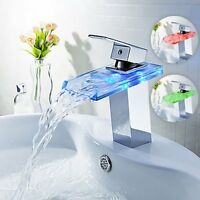 LED Color Changing Waterfall Sink Glass Basin Faucet Mixer Tap Bathroom Kitchen