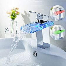 New Modern LED RGB Waterfall Chrome Single Lever Mixer Sink Basin Tap