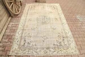 6.9x10.2, Turkish Vintage Area Rug, Neutral Beige Floral Boho Farmhouse Decor