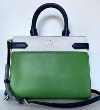 New Kate Spade Staci colorblock Medium Satchel Leather Verona Green multi