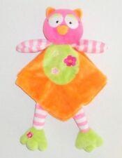 Baby Starters Orange Owl Security Blanket Pink Green Dangle Feet Rattle P38
