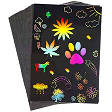5 x Sheets Scratch Art Paper Magic Rainbow Painting Doodle Boards Stylus A5