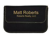 Business Card Holder Case Leatherette Soft Sided Black Personalized Free