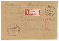 Feldpost Brief per Einschreiben an Wehrmeldeamt Hildesheim, 17.12.43