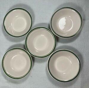 Vintage Buffalo China  White with Green Stripes Fruit Dessert Bowl Set Of 5
