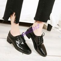 Women Vintage Square Toe Lace Up Flat Low Heel Casual Oxford Shoes Size