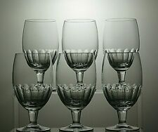 "CUT GLASS CRYSTAL WINE GLASSES SET OF 6 - 5"" TALL,"