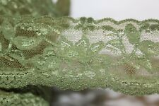 """$1 yard olive Green STRETCH sewing lingerie headband lace trim 2"""" wide"""