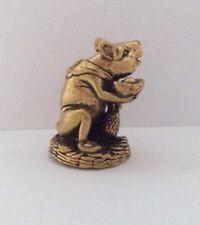 Statuette amulette laiton figurine RAT CHANCE ARGENT MENDIANT Chine b45