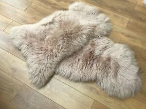Pink Beige Dyed Real Sheepskin 90-100cm Soft Thick Wool Area Rug Real Fur