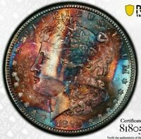 1880-S USA MORGAN SILVER DOLLAR PCGS MS64 GORGEOUS COLOR UNC BU TONED (DR)