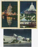 LOT of 3 Washington DC at Night LINEN POSTCARDS