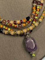 Women's Ladies Necklace Bohemian Multi Color Beads 3 Strand Amethyst  Pendant 16