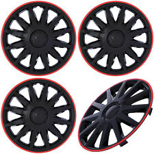 "4PC Set 14"" inch ICE BLACK / RED TRIM Hub Caps for Steel Wheel Cover Cap Covers"