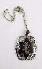 Vintage Silver Enamel Siam Niello Dancer Pendant and Silver Chain