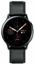 Samsung Galaxy Watch Active 2 40mm Stainless Steel Case with Leather Strap Smartwatch - Black (LTE) (SM-R835FSKAXSA)