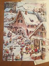 Vintage Germany Christmas Advent Calendar 708 Stuttgart Rohr Winter Village Mill