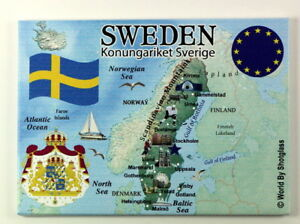 "SWEDEN EU SERIES FRIDGE COLLECTOR'S SOUVENIR MAGNET 2.5"" X 3.5"""
