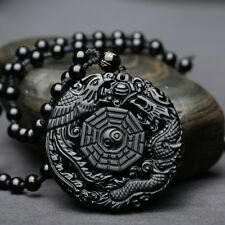Men's Natural Obsidian Handmade TaiJi BaGua Lucky Pendant Beads Chain Necklace