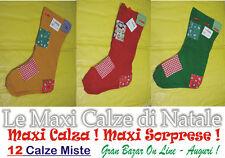 NATALE 12 MAXI CALZA TRADIZIONALE COLORE ROSSO VERDE BEIGE 44 CM.