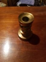 "SOLID BRASS CANDLE HOLDER 3"" TALL AND APPROX 2IBS WEIGHT Vintage"