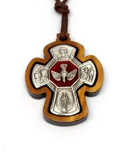 OLIVE WOOD ENAMEL AND PEWTER FOUR WAY CROSS WITH CORD | QUALITY CROSS