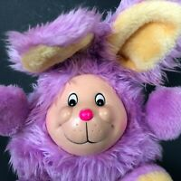 """Vintage Rubber Face Bunny Rabbit Plush Stuffed Toy 11"""" Round Chubby Purple Furry"""