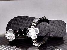Infradito gioiello,HAVAIANAS,nero,ricamato a mano con pietre e perle, n^35/36