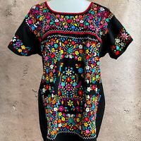 Mexican Heavily Embroidered Blouse, Elegant Floral Top, Colorful Ethnic Top
