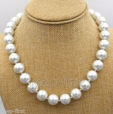 """Genuine AAA 14mm Natural White South Sea Akoya Shell Pearl Necklace 18"""" AAA"""