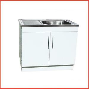 Stainless Steel Sink With Polyurethane Cabinet Laundry Tub With Drainer