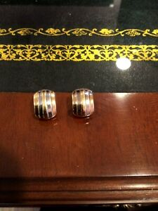 VINTAGE 14K WHITE AND YELLOW GOLD CLIP-ON HUGGIES
