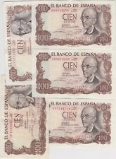 More details for five spain p152a 100 pts banknotes 1970 in extremely fine or better condition