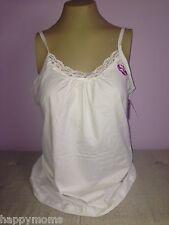 Plus Size Women Cami Tank Top Camisole White Lace Cotton JMS  1X 2X 3X 4X NWT