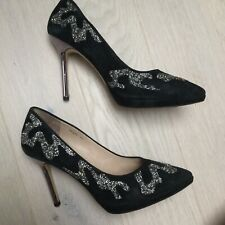 Staccato high heels shoes stilettos black suede platform pointed toe 245 size 5